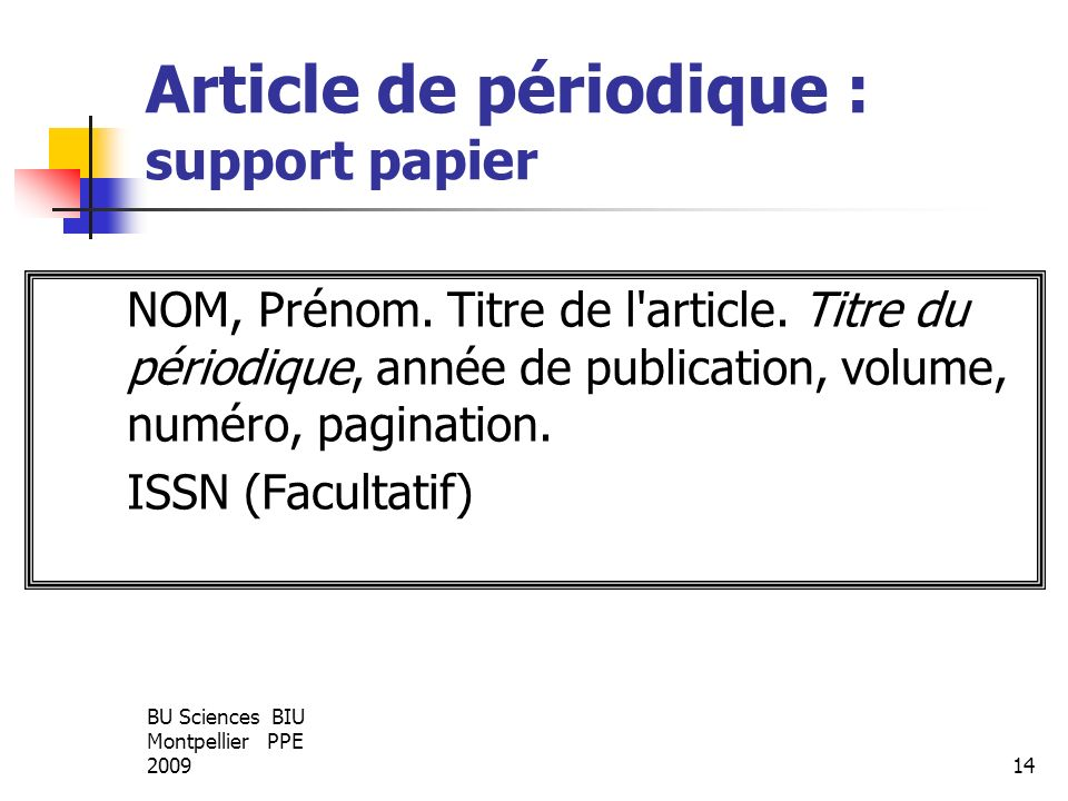 Article de périodique : support papier