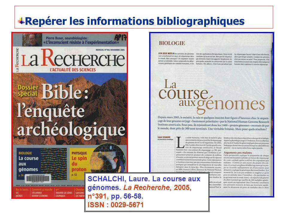 Repérer les informations bibliographiques