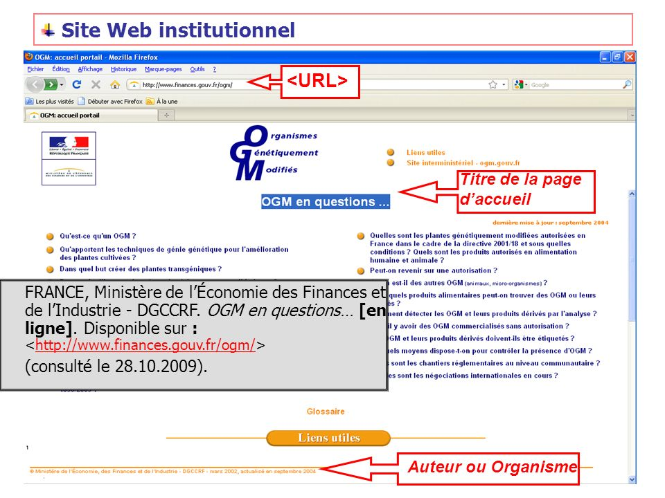 Site Web institutionnel
