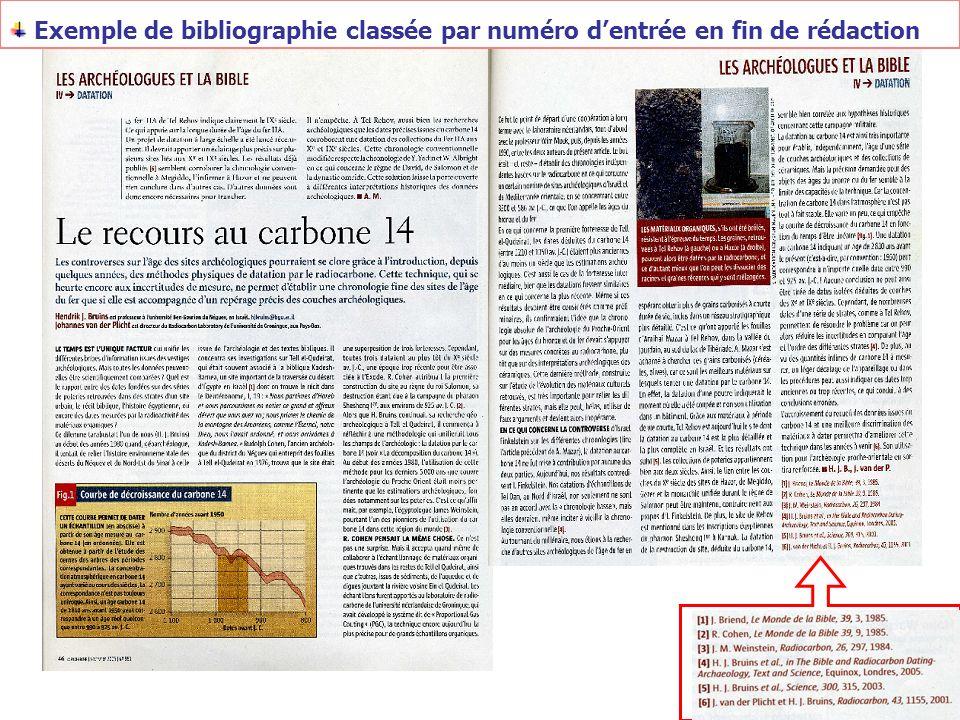 Exemple de bibliographie classée par numéro d'entrée en fin de rédaction