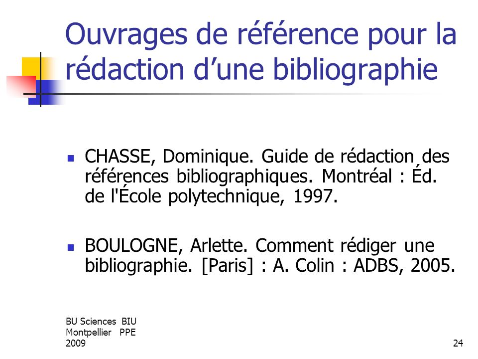 Ouvrages de référence pour la rédaction d'une bibliographie