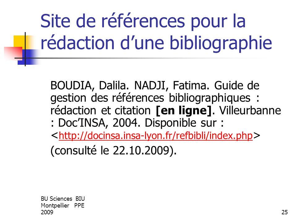 Site de références pour la rédaction d'une bibliographie