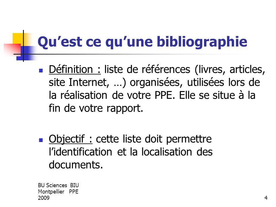 Qu'est ce qu'une bibliographie