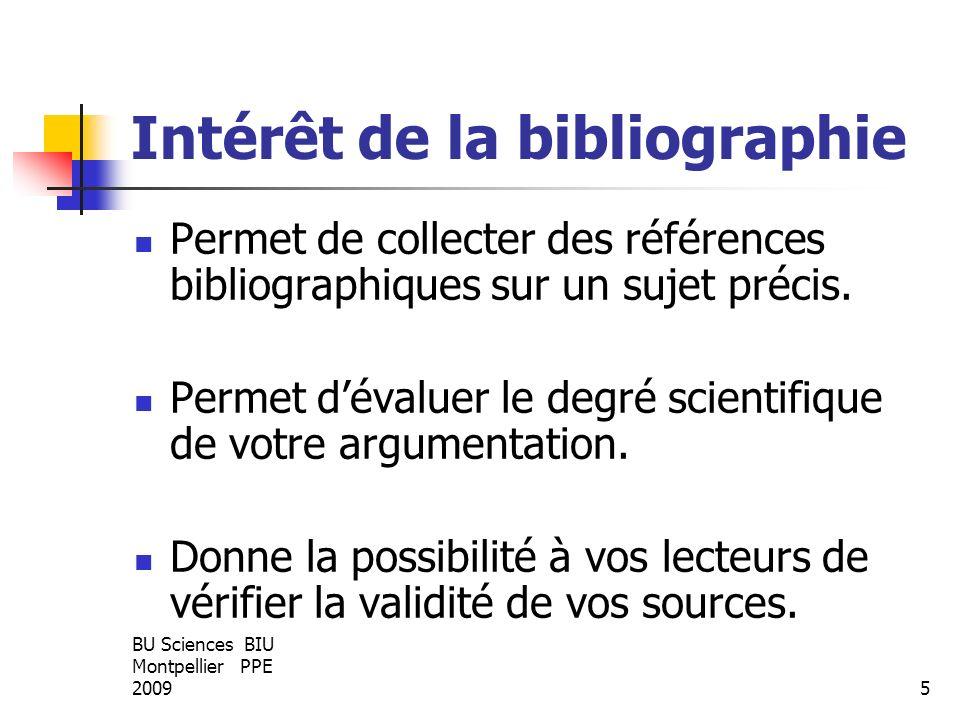 Intérêt de la bibliographie