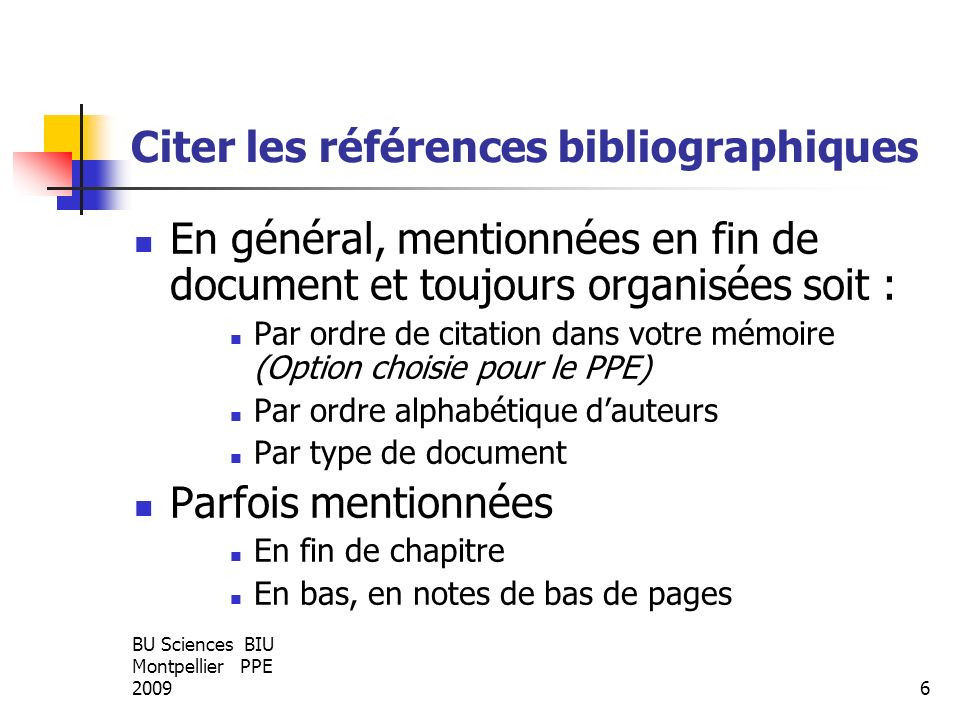 Citer les références bibliographiques