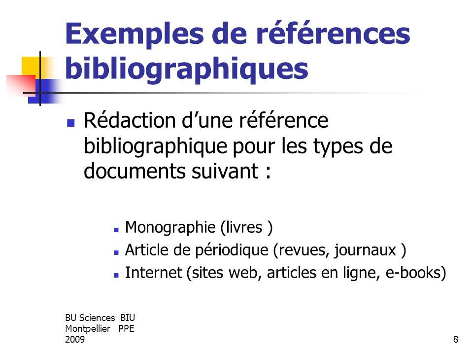 Exemples de références bibliographiques