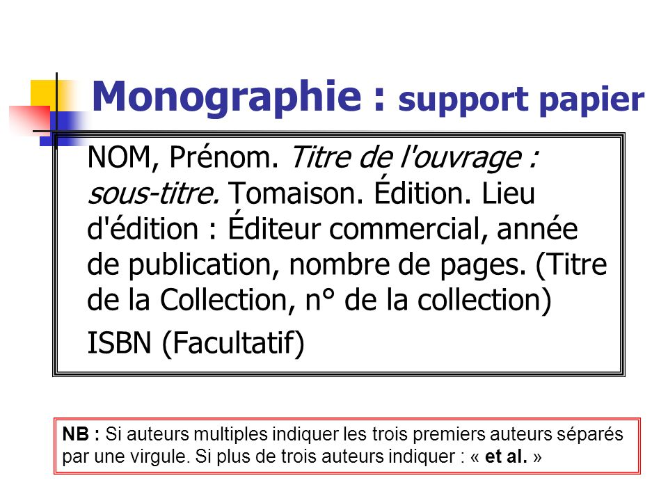 Monographie : support papier