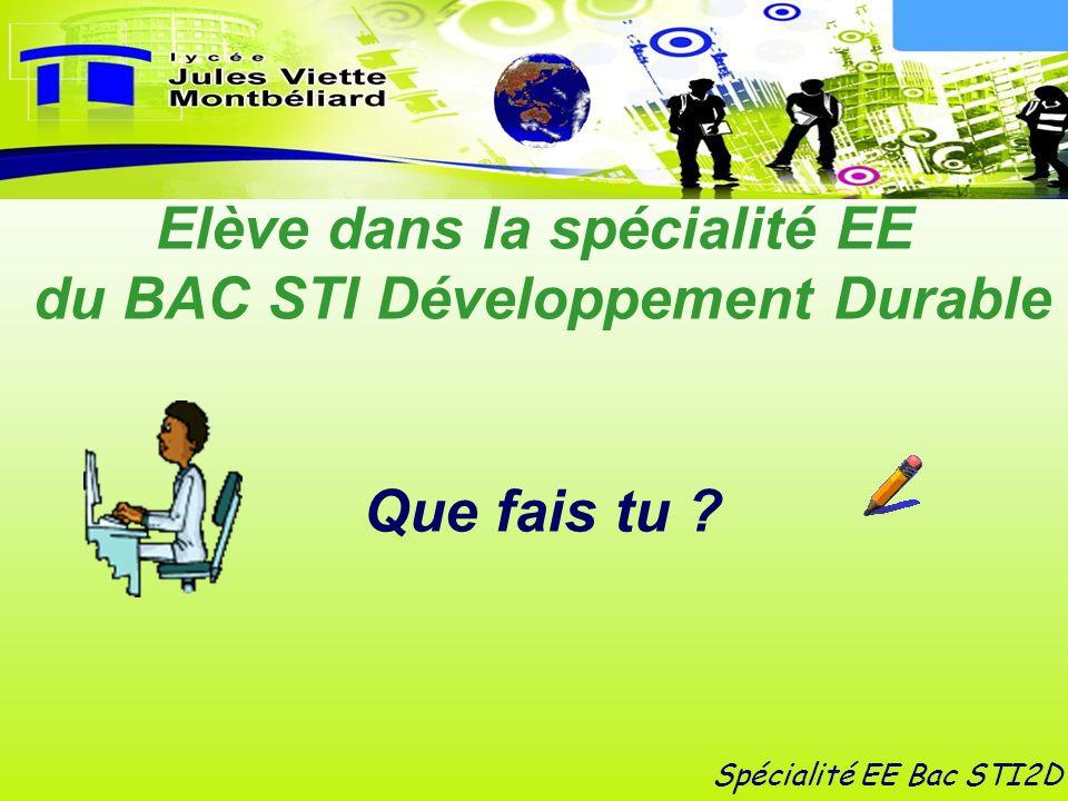 Elève dans la spécialité EE du BAC STI Développement Durable
