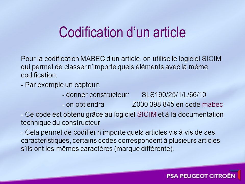 Codification d'un article