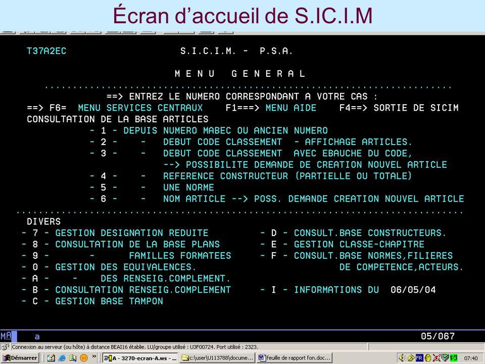 Écran d'accueil de S.IC.I.M