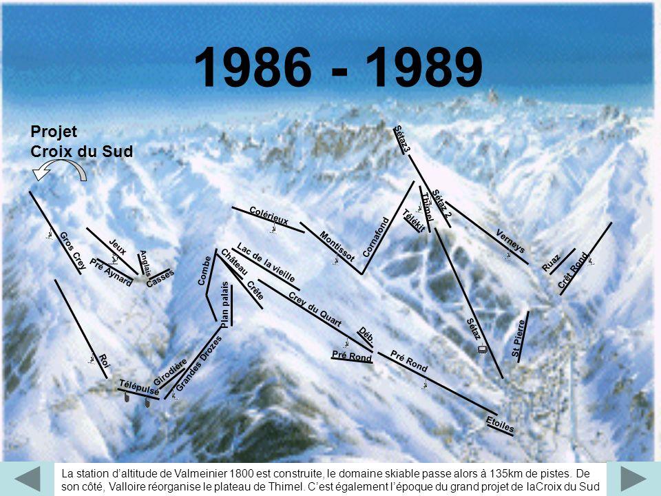 1986 - 1989 Projet. Croix du Sud. Télékit. Combe. Pré Aynard. Casses. Roi. Gros Crey. Jeux.