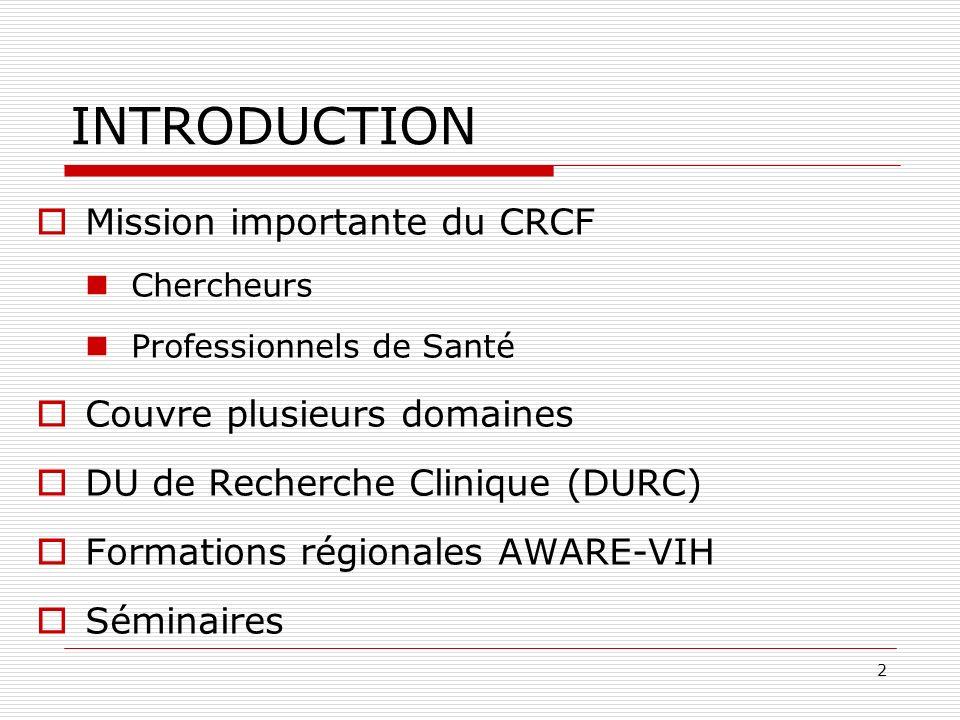 INTRODUCTION Mission importante du CRCF Couvre plusieurs domaines