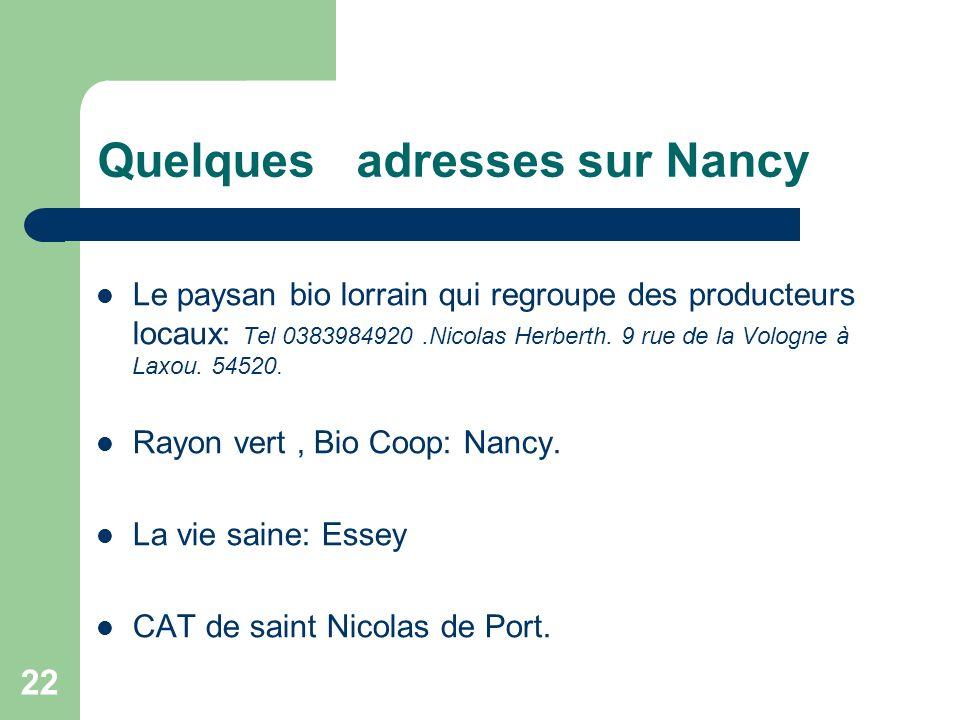 Quelques adresses sur Nancy