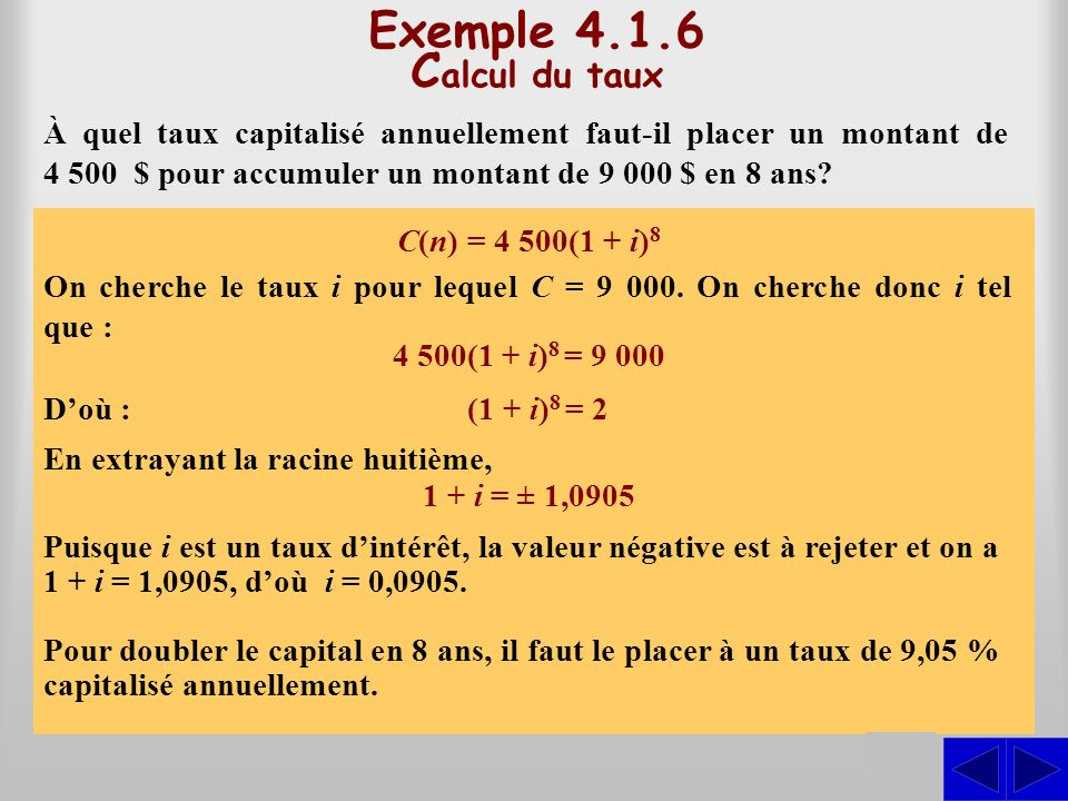 Exemple 4.1.6 Calcul du taux S S