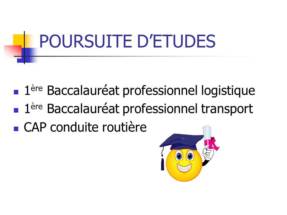 POURSUITE D'ETUDES 1ère Baccalauréat professionnel logistique