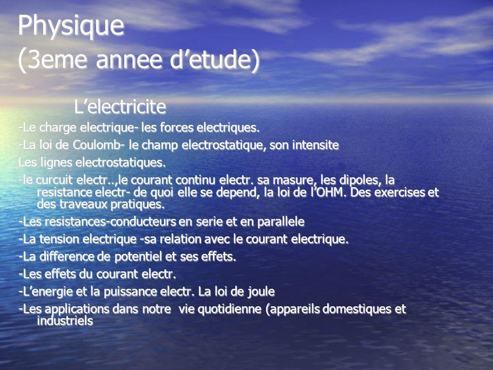 Physique (3eme annee d'etude)