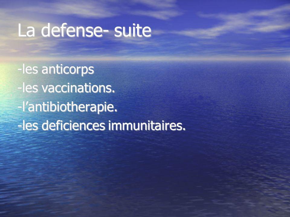 La defense- suite -les anticorps -les vaccinations.