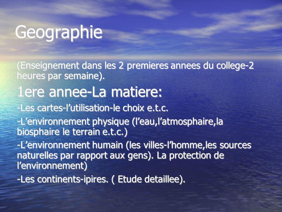 Geographie 1ere annee-La matiere: