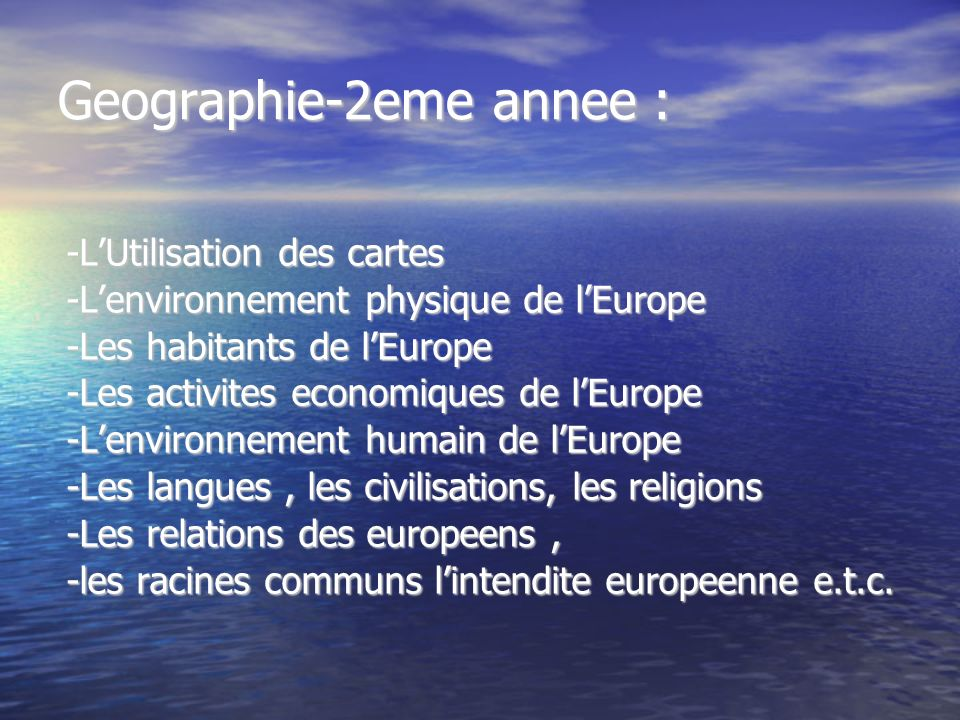 Geographie-2eme annee :