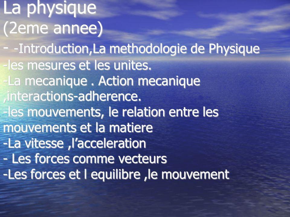 La physique (2eme annee) - -Introduction,La methodologie de Physique -les mesures et les unites.