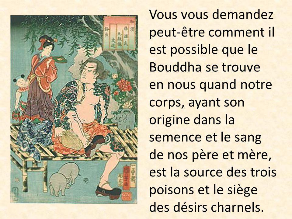 Vous vous demandez peut-être comment il est possible que le Bouddha se trouve en nous quand notre corps, ayant son origine dans la semence et le sang de nos père et mère, est la source des trois poisons et le siège des désirs charnels.
