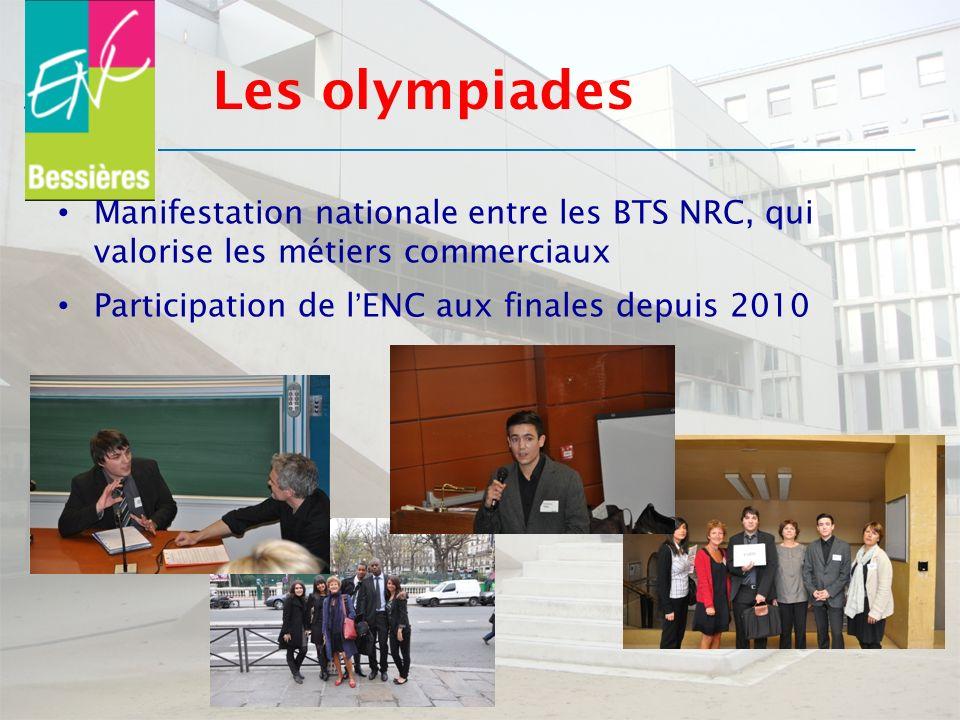 Les olympiades Manifestation nationale entre les BTS NRC, qui valorise les métiers commerciaux.