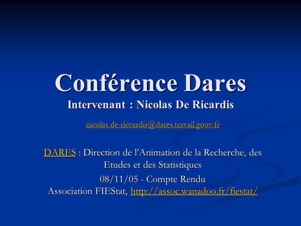 Conférence Dares Intervenant : Nicolas De Ricardis