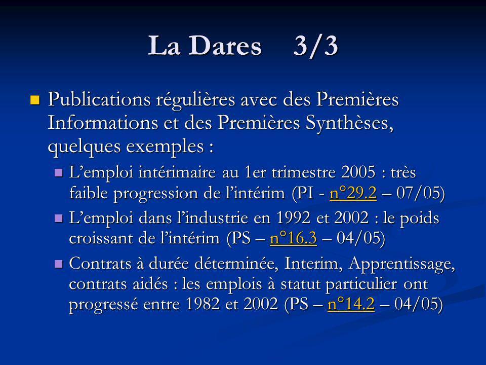 La Dares 3/3 Publications régulières avec des Premières Informations et des Premières Synthèses, quelques exemples :