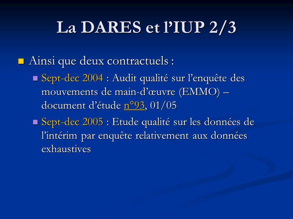 La DARES et l'IUP 2/3 Ainsi que deux contractuels :