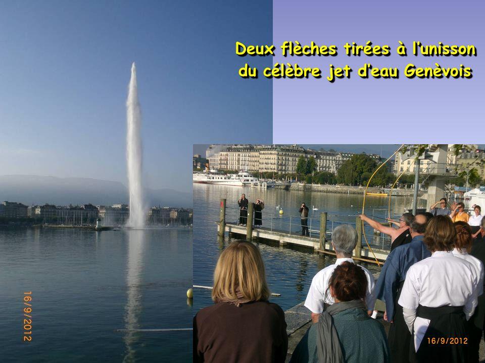 Deux flèches tirées à l'unisson du célèbre jet d'eau Genèvois