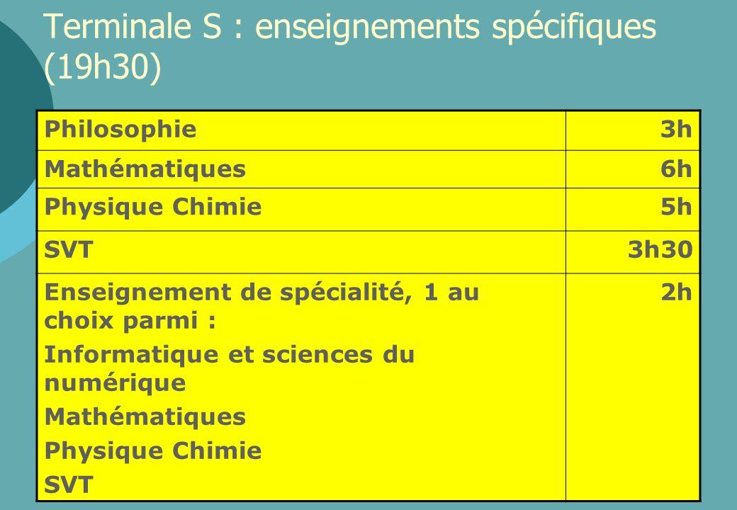 Terminale S : enseignements spécifiques (19h30)