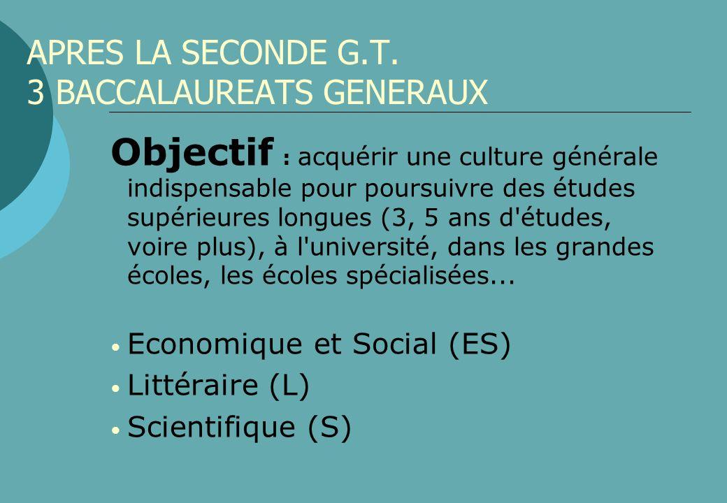 APRES LA SECONDE G.T. 3 BACCALAUREATS GENERAUX