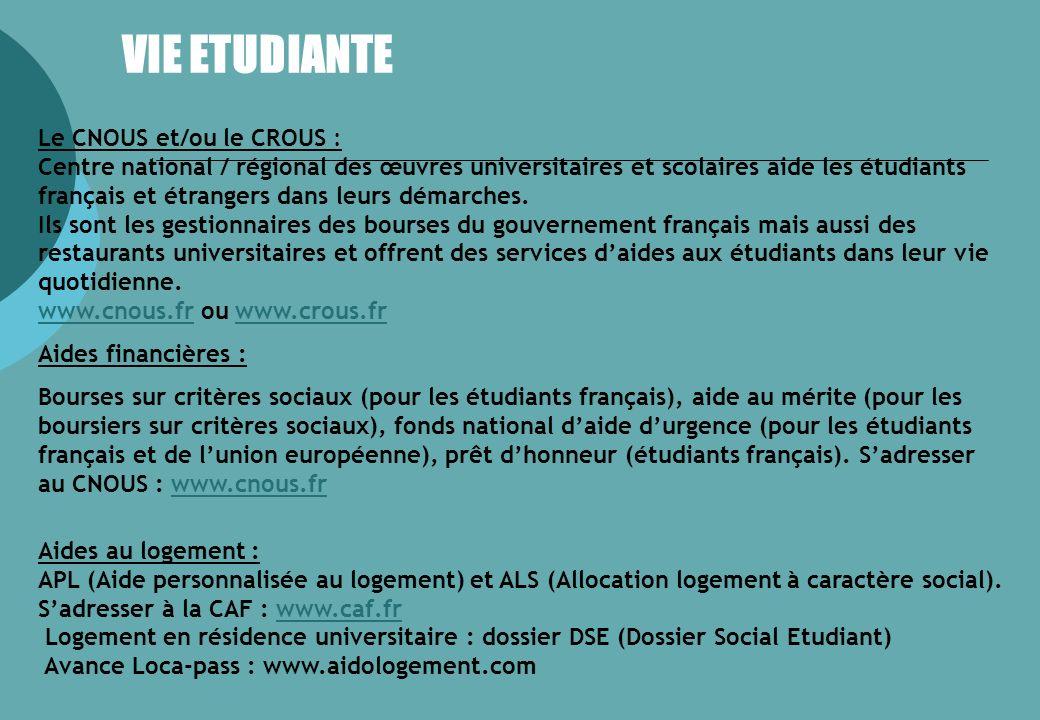 VIE ETUDIANTE Le CNOUS et/ou le CROUS :