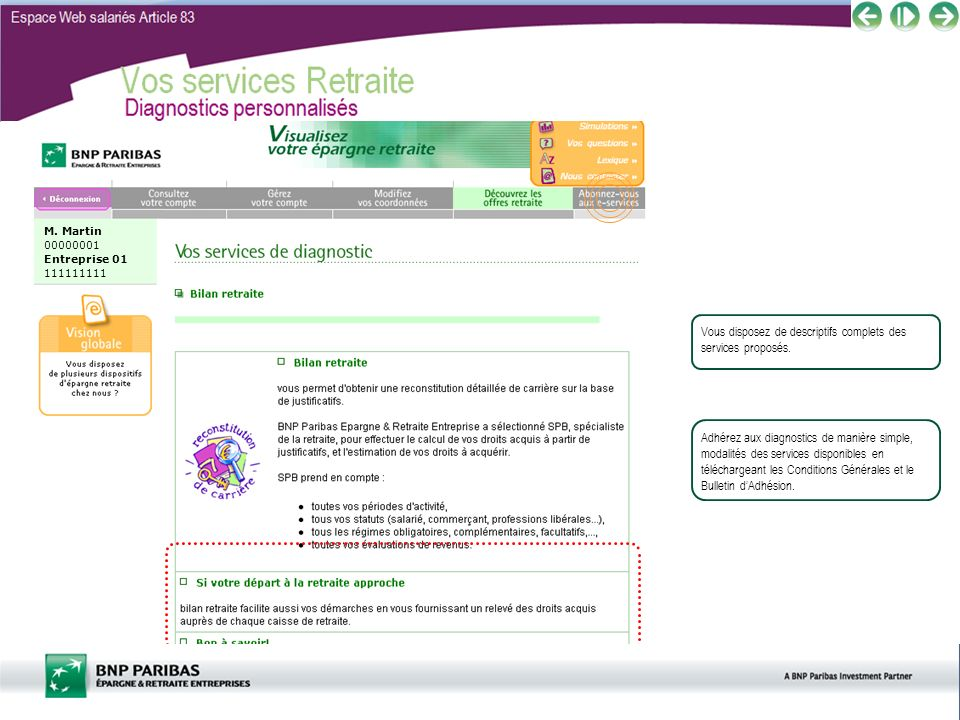 Vos services Retraite Diagnostics personnalisés