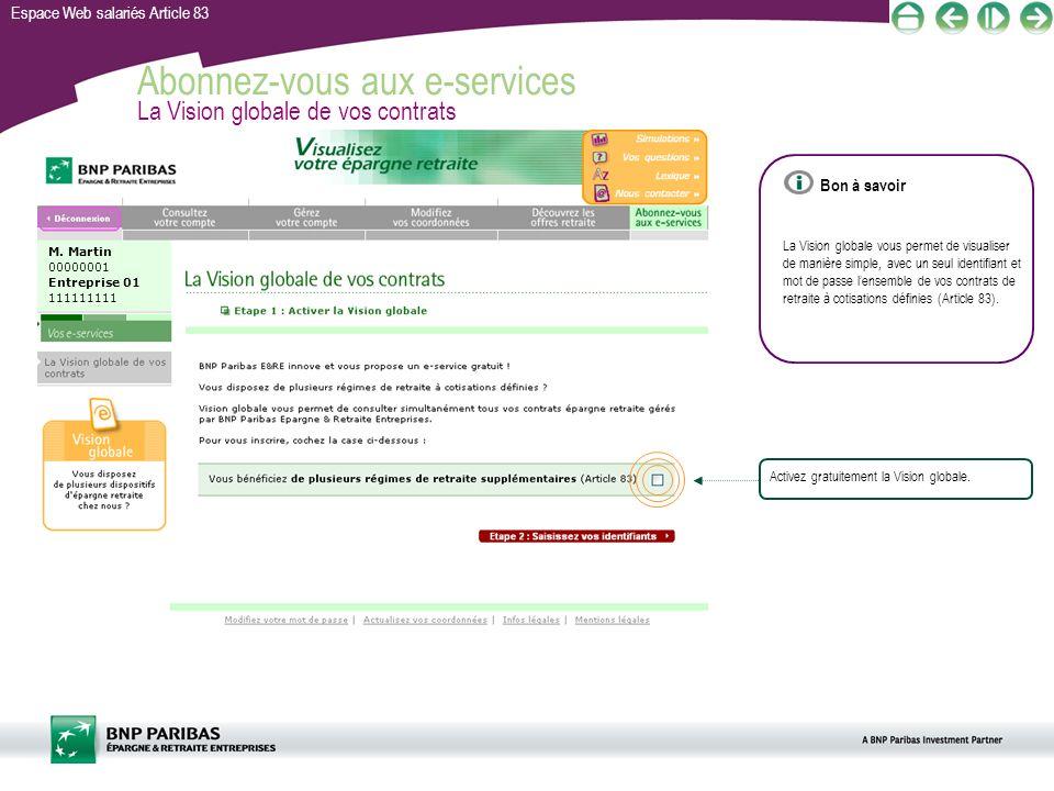 Abonnez-vous aux e-services