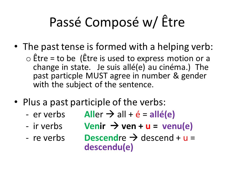 Passé Composé w/ Être The past tense is formed with a helping verb: