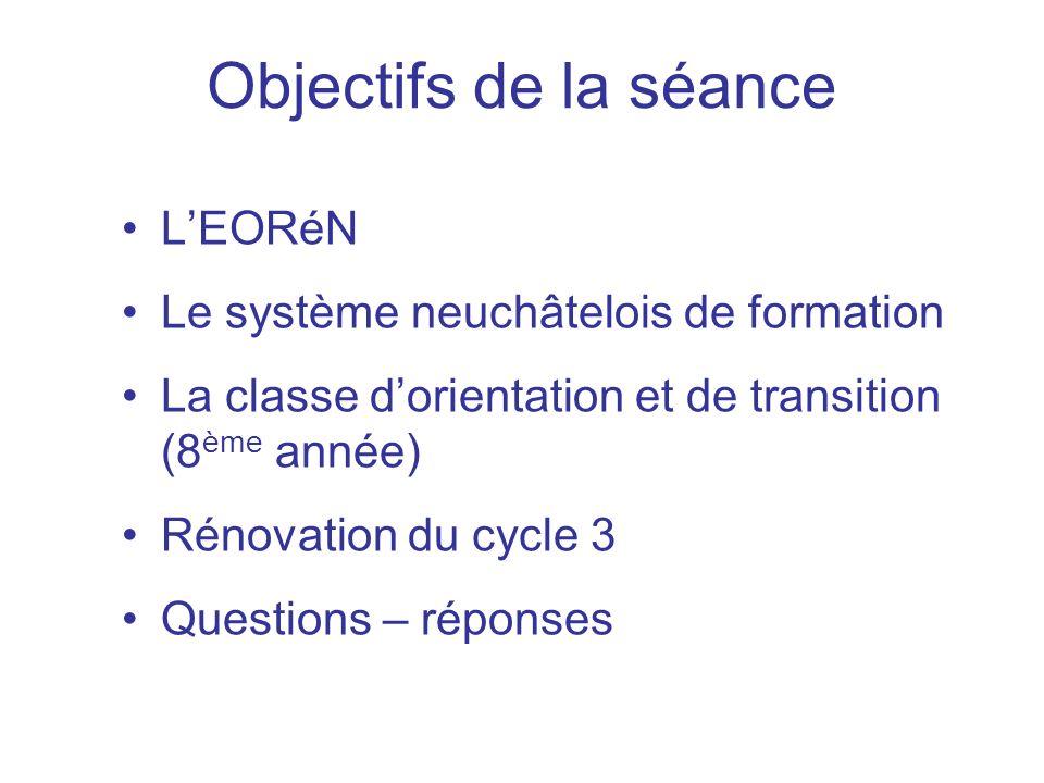Objectifs de la séance L'EORéN Le système neuchâtelois de formation
