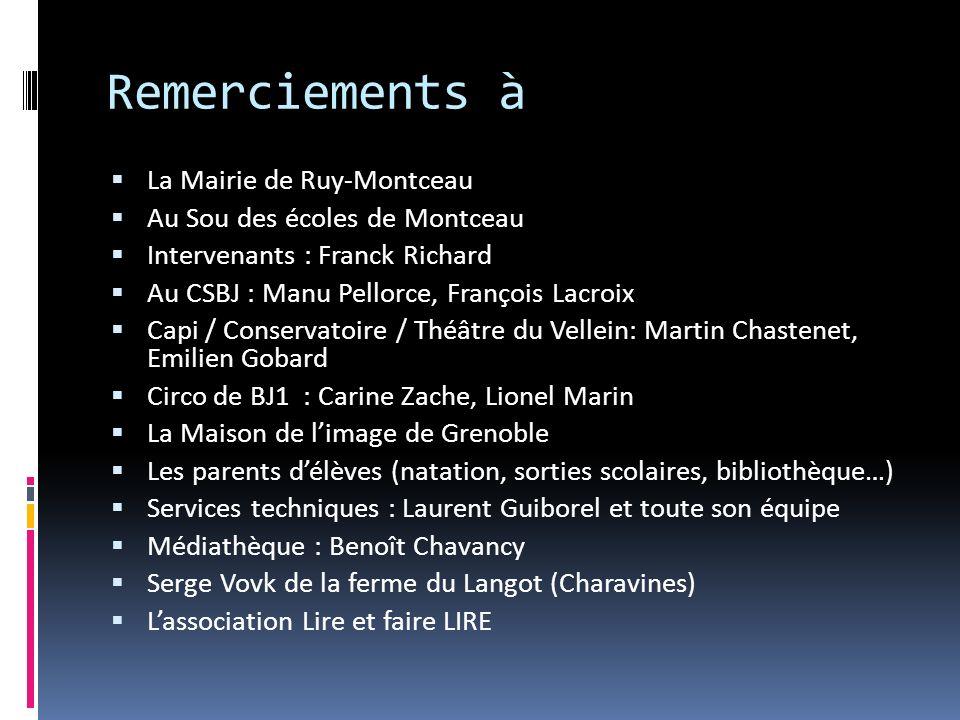 Remerciements à La Mairie de Ruy-Montceau