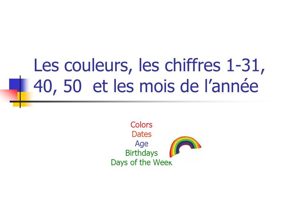 Extrêmement Les couleurs, les chiffres 1-31, 40, 50 et les mois de l'année  NL93