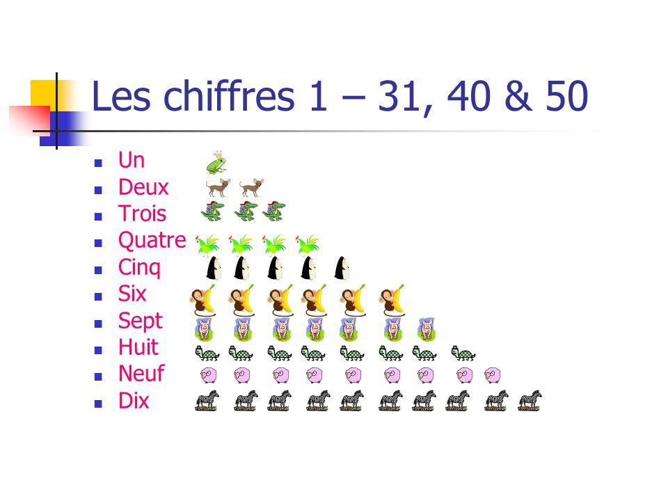 Les chiffres 1 – 31, 40 & 50 Un Deux Trois Quatre Cinq Six Sept Huit