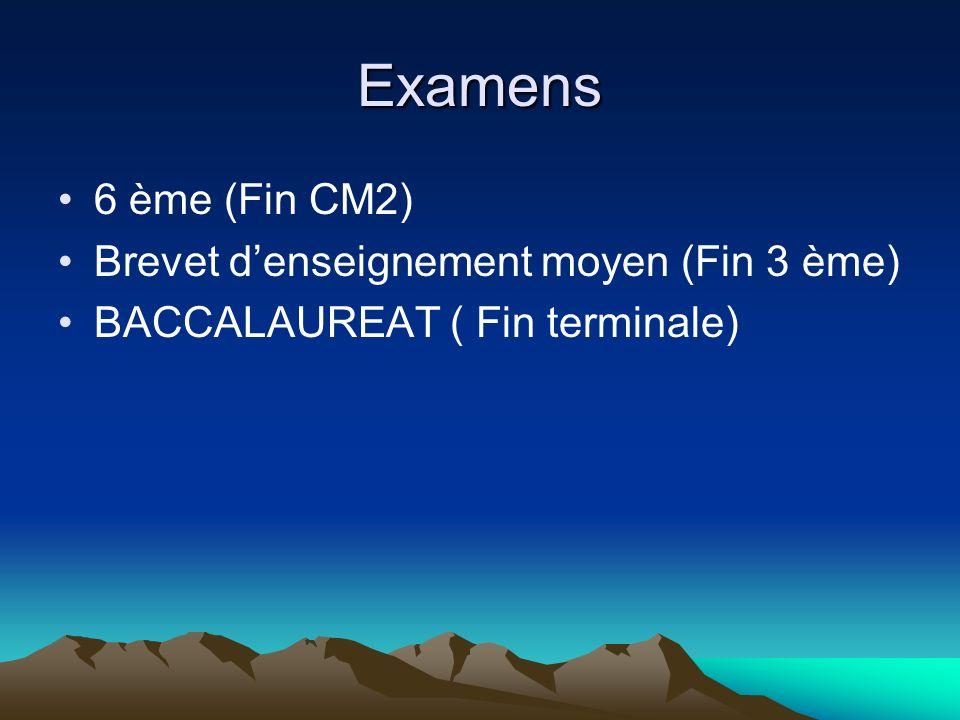 Examens 6 ème (Fin CM2) Brevet d'enseignement moyen (Fin 3 ème)