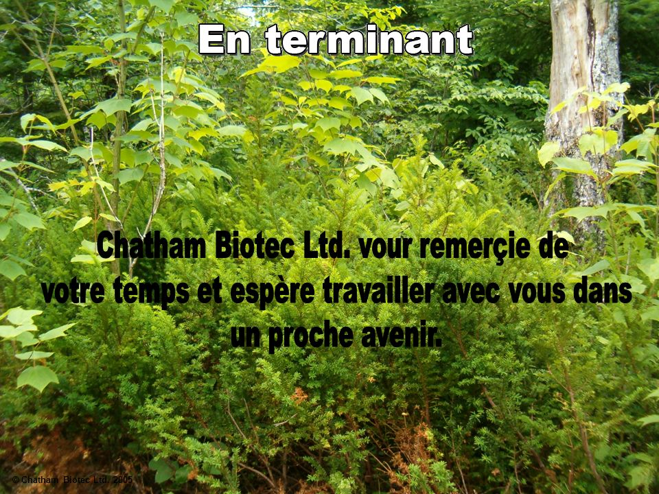 Chatham Biotec Ltd. vour remerçie de
