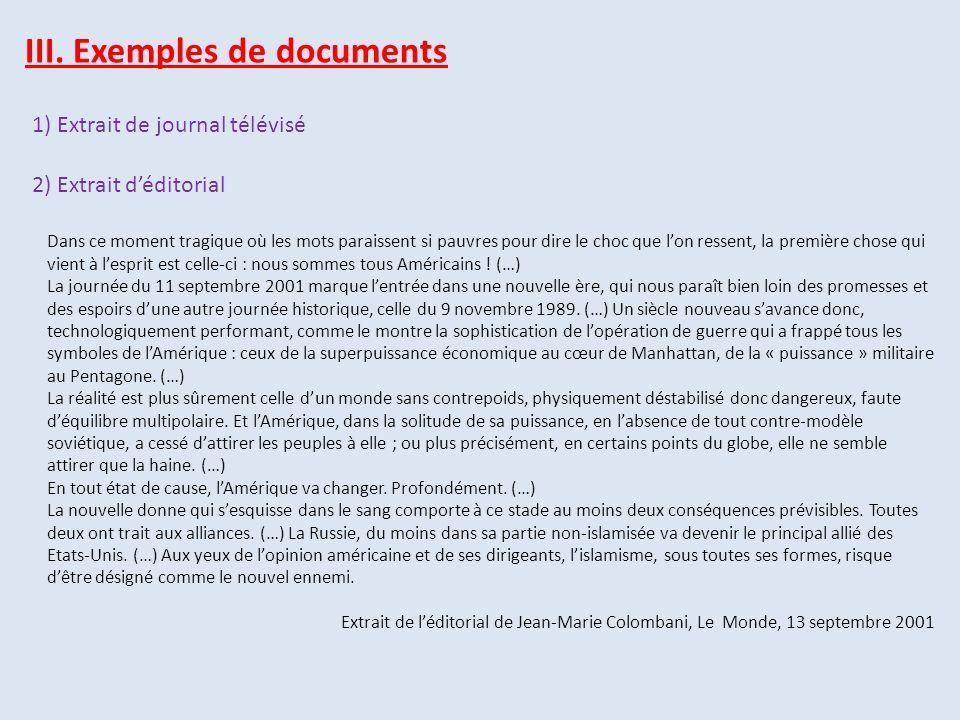 III. Exemples de documents