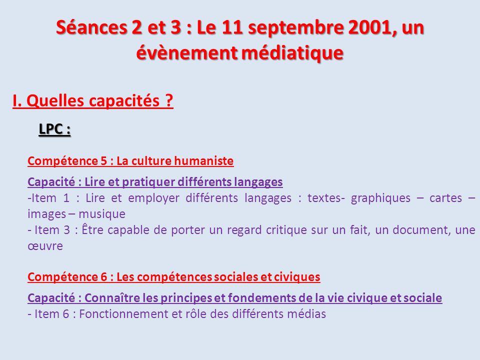 Séances 2 et 3 : Le 11 septembre 2001, un évènement médiatique