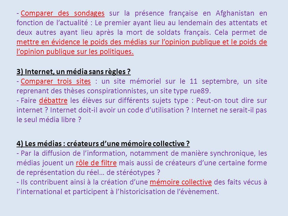 Comparer des sondages sur la présence française en Afghanistan en fonction de l'actualité : Le premier ayant lieu au lendemain des attentats et deux autres ayant lieu après la mort de soldats français. Cela permet de mettre en évidence le poids des médias sur l'opinion publique et le poids de l'opinion publique sur les politiques.