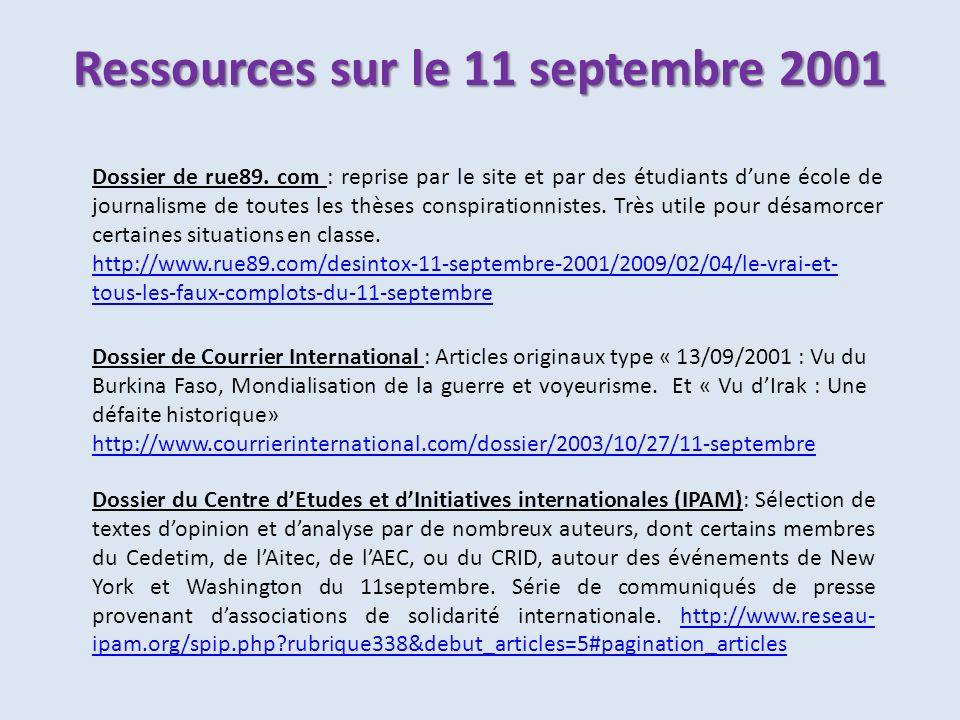 Ressources sur le 11 septembre 2001