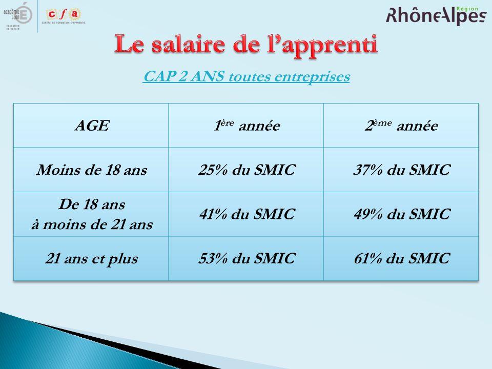 Le salaire de l'apprenti CAP 2 ANS toutes entreprises