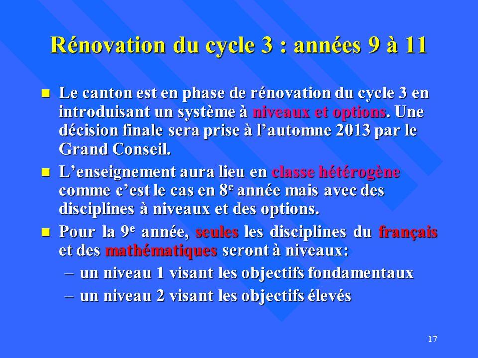 Rénovation du cycle 3 : années 9 à 11