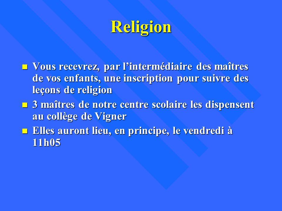 Religion Vous recevrez, par l'intermédiaire des maîtres de vos enfants, une inscription pour suivre des leçons de religion.