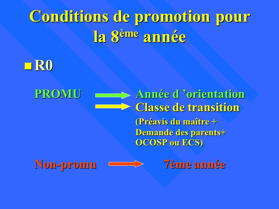 Conditions de promotion pour la 8ème année
